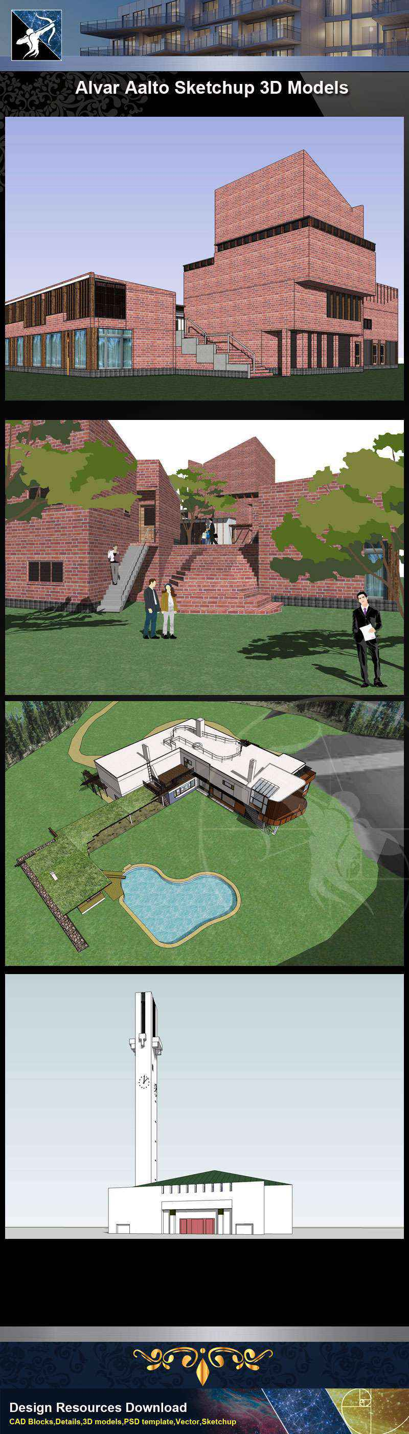 Download 5 Projects Of Alvar Aalto Architecture Sketchup 3d Models Skp File Format Free Cad Download World Download Cad Drawings