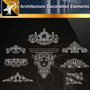 ★【 Free Architecture Decoration Elements V.9】@Autocad Decoration Blocks,Drawings,CAD Details,Elevation
