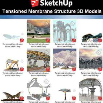 【Sketchup 3D Models】19 Types of Tensioned Membrane Structure Sketchup Models V.3